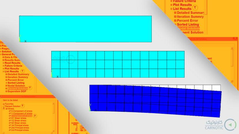 تحلیل تنش استاتیکی صفحه یک سر گیردار با استفاده از المانهای مربعی در نرم افزار انسیس