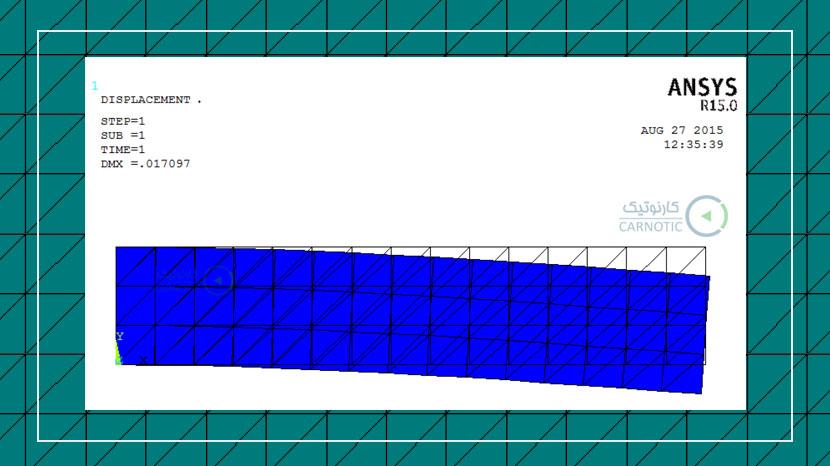 تحلیل تنش استاتیکی صفحه یک سر گیردار با استفاده از المانهای مثلثی در نرم افزار انسیس