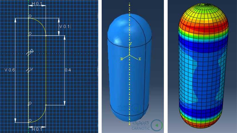 تحلیل تنش مخازن کامپوزیتی تحت فشار داخلی در نرم افزار آباکوس