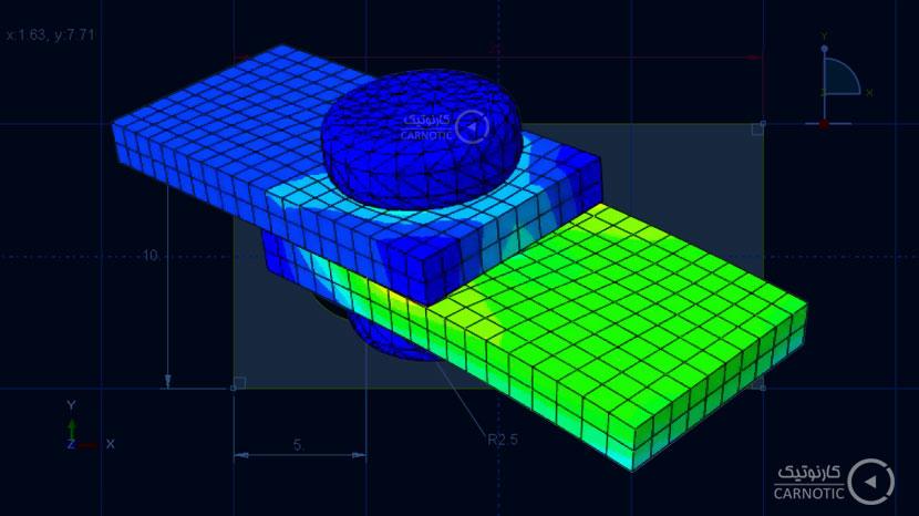 تحلیل تنش استاتیکی یک اتصال پین سه بعدی در نرم افزار آباکوس